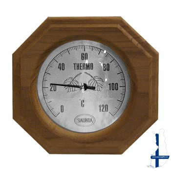 Sauna thermometer, vierkant, donker hout